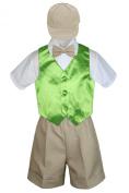 Leadertux 5pc Formal Baby Toddler Boy Lime Green Vest Khaki Shorts Suit Cap S-4T (S:
