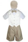 Leadertux 5pc Formal Baby Toddler Boys Ivory Vest Khaki Shorts Suits Cap S-4T