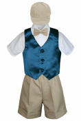 Leadertux 5pc Baby Toddler Boys Green Teal Vest Khaki Shorts Bow Suits Cap S-4T