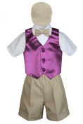 Leadertux 5pc Formal Baby Toddler Boys Eggplant Vest Khaki Shorts Suits Cap S-4T