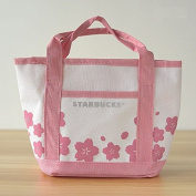 Starbucks Coffee Japan Pink Sakura Cherry Blossom Travel / Lunch / Beauty/nappy Small Canvas Bag