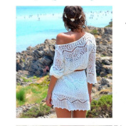 Women Women Hollow Out White Lace Dress Beach Party Dresses with Belt