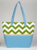Faith Chevron Print Tote Bag, Blue and Green