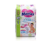 Kao Nappies Japanese Import Merries Sarasara Air Through L-size (9kg-14kg) 64 Sheets