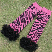 Miracle of Life Baby Girl Newborn Pink Zebra Leg Warmers Leggings with Chiffon Ruffles