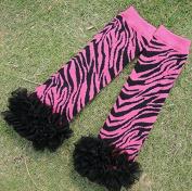 Miracle of Life Baby Girl Newborn Pink Zebra Leg Warmers Leggings with Chiffon Ruffles