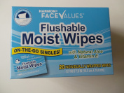 Flushable Moist Wipes Individually Wrapped on the Go Singles with Aloe and Vitamin E