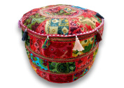 Embroidered & Patchwork Red Ottoman Cover, Indian Decorative Pouffe Ottoman, Size 14 X 60cm X 60cm