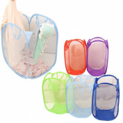 Voberry Mesh Foldable Pop up Dirty Clothes Laundry Basket Bag Toy Tidy Storage