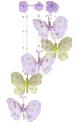The Butterfly Grove Chloe Butterfly Nursery Mobile Hanging Nylon Layered Decor, Purple/Yellow
