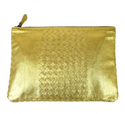 Bottega Veneta Gold Leather Clutch Woven Pouch Bag 302294 8417