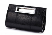 Hoxis Classic Crocodile Pattern Faux Patent Leather Metal Grip Cut it out Clutch with Shoulder Strap Womens Handbag