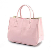 Sugawin Women's Pure Colour Pink PU Leather Handbag Shoulder Bags