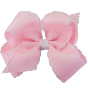 Wee Ones Baby Girls' Medium Classic Grosgrain Moonstitch Hair Bow on a WeeStay Clip