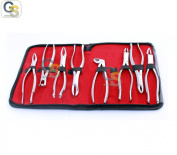 G.S 8 PCS DENTAL EXTRACTING FORCEPS KIT WITH VELVET POUCH GOOD QUALITY