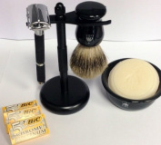 5 Piece Shaving Set -- Rubber Coated Butterfly Long Handle Razor, Pure Badger Brush, Black Matte Brush and Razor Stand, Gbs Ceramic Bowl and Gbs 90ml Ocean Driftwood Shaving Soap 97% All Natural + 15 Double Edge Safety Blades
