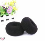 Healtheveryday®2PCS Black Extra Large Hair Styler Tool Donut Bun Maker Former Doughnut Shaper Ring Styling Roll Updo 10cm