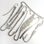 LQZ(TM) 10Pcs of Mixed Designs of Anitqued Silver Hook Bookmarks