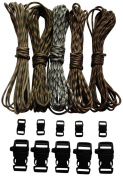 Paracord Bracelet Kit - 250kg Paracord - Five Colours Each 6.1m = 30m Total - Paracord Crafting Kit Comes with 10 Black Side Release Buckles