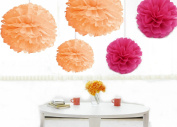 Kubert® 12pcs Mixed 20cm 25cm 36cm Sizes Peach and Hot Pink Tissue Paper Pom Poms Flower Wedding Birthday Party Baby Girl Room Nursery Decoration Birthday Parties, Bridal Showers, Baby Showers and Other Special Occasions
