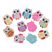 25 Wonderfully Colourful Wooden Owl Buttons with Exclusive Shizaru Designs Gift Bag