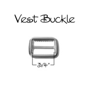 Vest Buckle - Slide Adjuster 1.9cm - Nickel - Qty 10