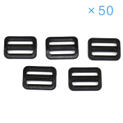"EasyWisdom 50 PCS Black Colour 1-1/2"" (38mm) Plastic Tri-glide Button Slides Buckles Designed for Camping Bag Belt Suitcase With Free Cable Organiser"