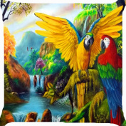 Cushion cover throw pillow case 46cm colourful birds owls waterfall river forest trees both sides image zipper