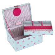 Button It | Summer Fayre | medium duck egg floral sewing box with lilac gingham lining