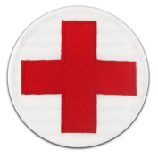 Red Cross Embroidered Patch for Jacket Backpack or Uniform