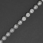 Flower Crystal Rhinestone Trim, Wedding Trim for Wedding Decoration, home decor, craft projects by 1 yard, Crystal/Silver, ROI-5643