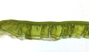 2 Yards - Olive Green Organza Ruffle Elastic Trim 2 Layers - Size 25 Mm