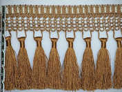 14cm Luxury Net Silky Tassel Fringe Trim Antique Gold Per Yard