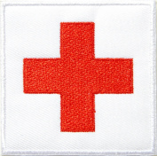 7.6cm American Red Cross Medic First Aid Nurse Doctor Emergency Logo Jacket Uniform Patch Sew Iron on Embroidered Sign Badge Costume