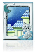Silver Touch USA Sterling Silver Picture Kitty Frame, Blue, 13cm x 18cm