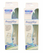 Set of 2 The First Years Breastflow Bottles 240ml Disposable BPA Free Medium Flow