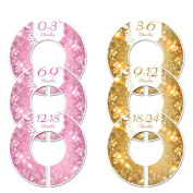#C208 Pink Gold Sparkle Girl Baby Closet Dividers Clothes Organisers Set of 6