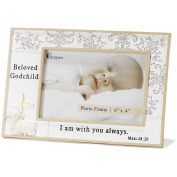 Dicksons Resin Photo Frame, Beloved Godchild/White