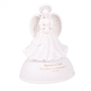 Baptised in Christ White Porcelain Musical Angel Figurine - Plays Tune Children's Prayer