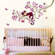 Cute Monkey And Pink Flower Blossom Tree Wall Art Deco