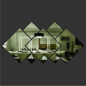 LSD 3d Glass Shining Diamond Shape Acrylic Mirror Effect Silver Wall Sticker Mural Window Glass Tile Bedroom Art Wall Decal Decor DIY Bedroom Living Room