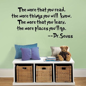 SWORNA Baby Nursery Series Dr. Seuss The More That You Read Vinyl Kids Wall Art Decals Wall Saying Lettering Quotes Decal Stickers Uplifting Decor for Children's/Kids'/Baby's Bedroom/Playroom/Kindergarten/Kids Nursery/Classroom DIY Wall Art Decoration ..