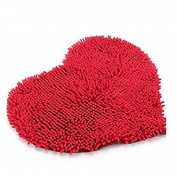 Foxnovo Heart Shaped Non-slip Soft Microfiber Chenille Fluffy Bathroom Bedroom