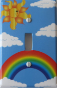 Rainbow Light Switch Plate with Sun, and Clouds / Single Toggle Rainbow Switch Plate Wall Decor