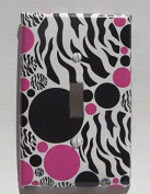 Zebra Print Light Switch Plate Cover Hot Pink and Black Dots