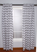 Ikat Zigzag Grey Curtain Panel