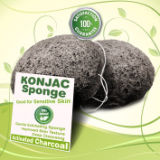 Gaia Konjac Bath Sponge 2 Pack - The Gentle Alternative to Baby Washcloths - Completely Free From Harmful Chemicals Such As Sulphates, Parabens, Phthalates, and Petroleum Found in Other Loofahs, Sponges or Pouffes - Activated Charcoal Black