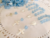 25 Pc Baptism Favours Blue Tiny Hearts Silver Plated Mini Rosaries Silver Plated Acrylic Beads/ Recuerditos De Bautismo/ Christening Favours/ Decenarios/ Decades/ Finger Rosaries