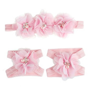 Meily(TM) Love Baby Girls Foot Flower Barefoot Sandals + Headband Set Baby Infants Girl
