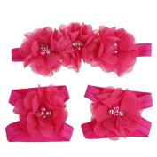 Meily(TM) Love Baby Girls Foot Flower Barefoot Sandals + Headband Set Baby Infants Girl